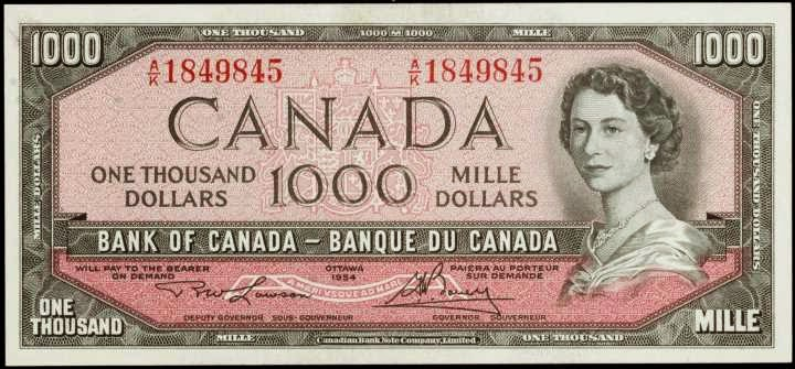 1954 1000 Canadian Dollar bill