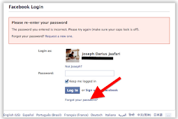 Facebook Login Password forgot