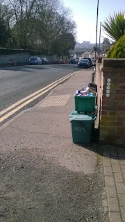 "Rubbish on the footway in Mile End Road, Colchester, on ""bin day"""