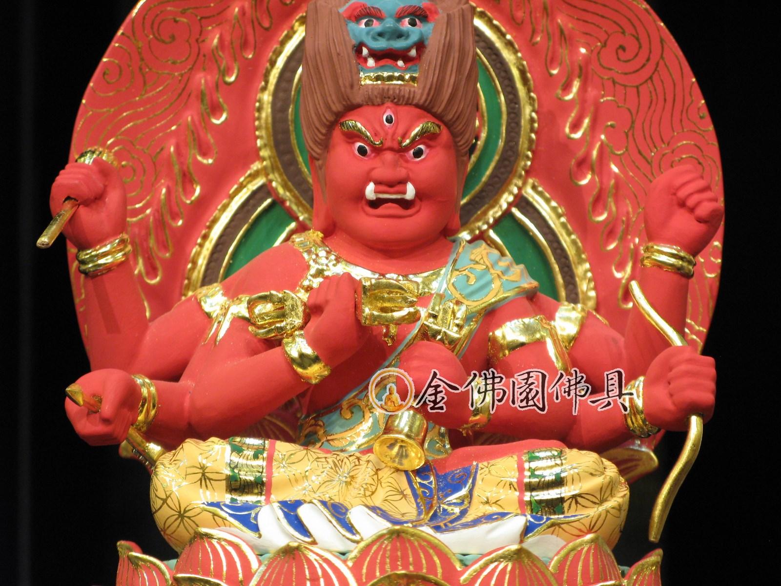 金佛園佛具: IK5115愛染明王像日式東密-黃楊木32cm