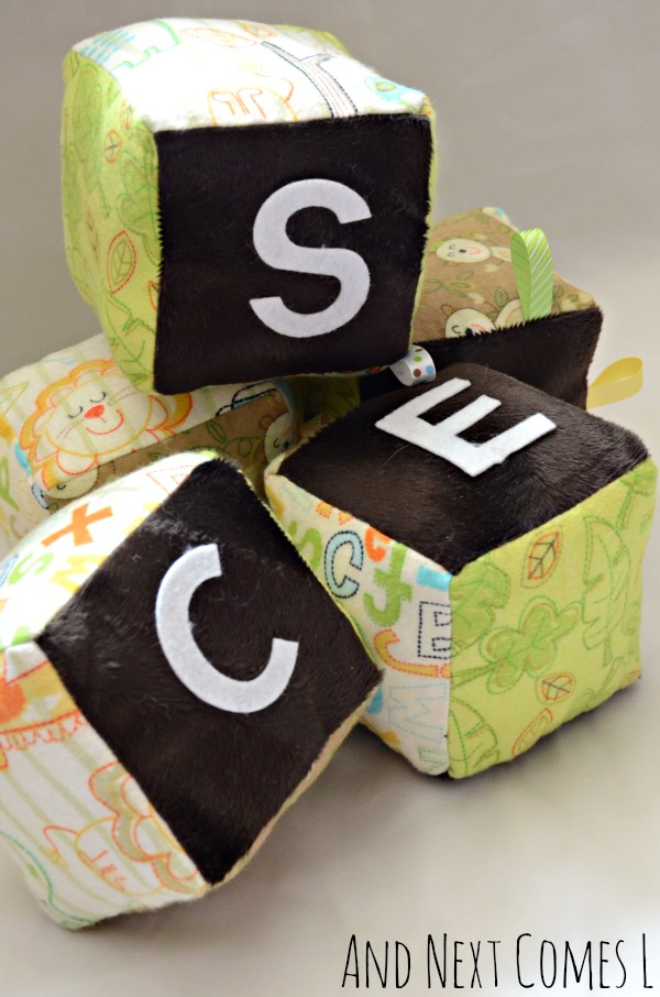 Close up of personalized baby gift idea - homemade fabric blocks with free printable template from And Next Comes L