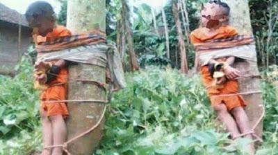 Kasihan...!!! Curi Ikan karena Kelaparan, Bocah Anak Yatim Diikat di Pohon