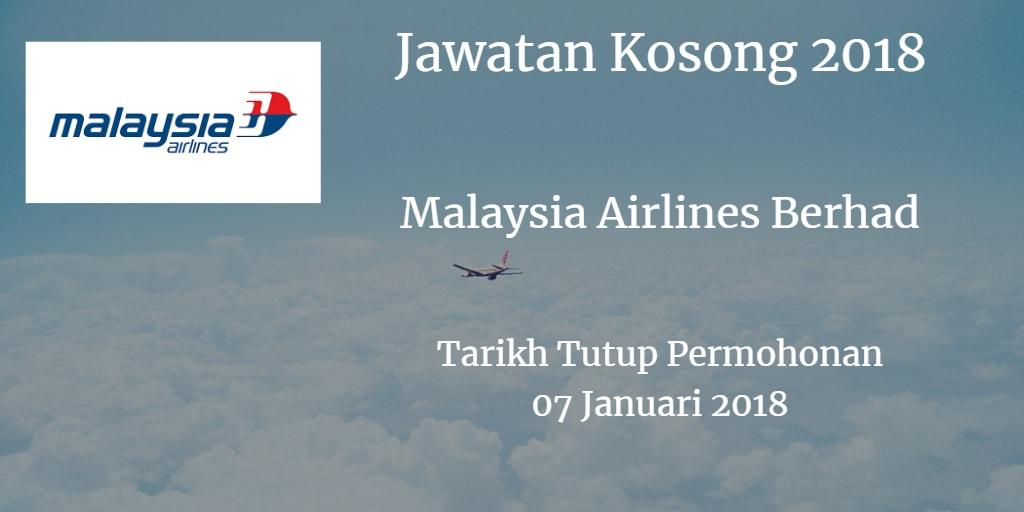 Jawatan Kosong Malaysia Airlines Berhad  07 Januari 2018