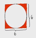 Área entre un círculo y un cuadrado