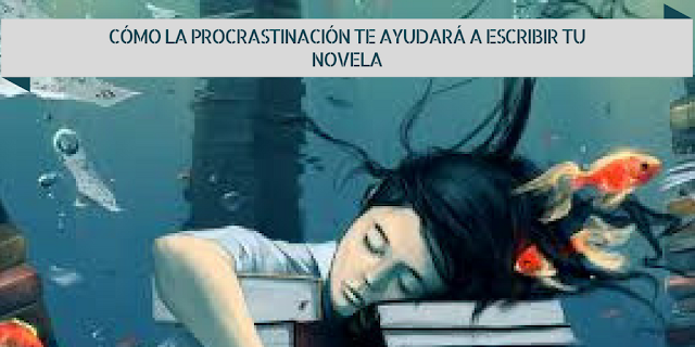 Ilustración de chica dormida sobre libros. Alrededor hay peces