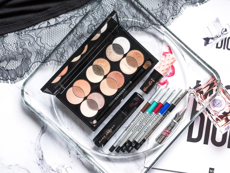 Ulubieńcy 2017 makijaż: Mixology Sephora, Highliner Marc Jacobs Beauty, Velvet Noir, Benefit Gimme Brow, Roller Lash
