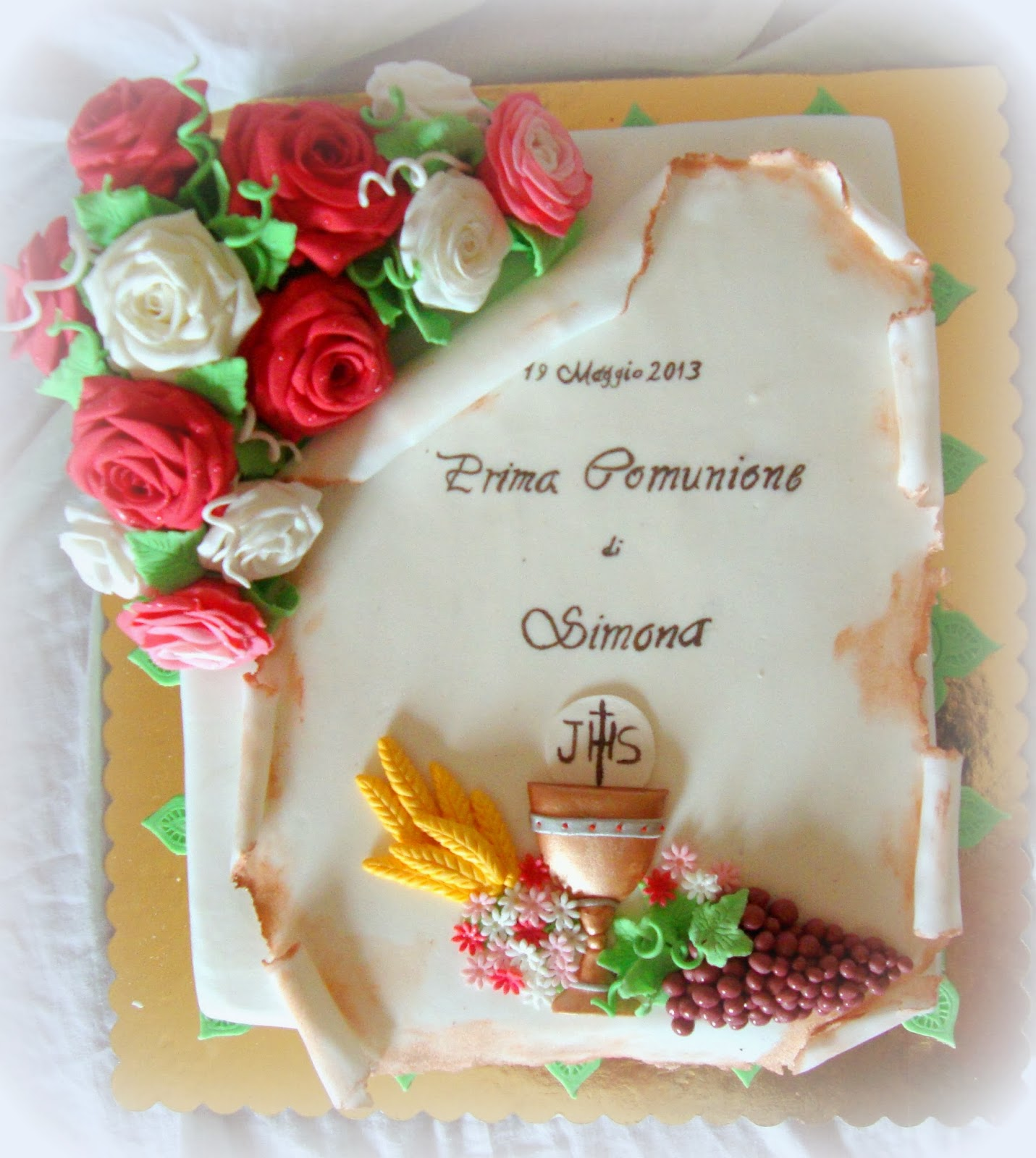 Favorito Very's Cake: Comunione con rose e pergamena GP32