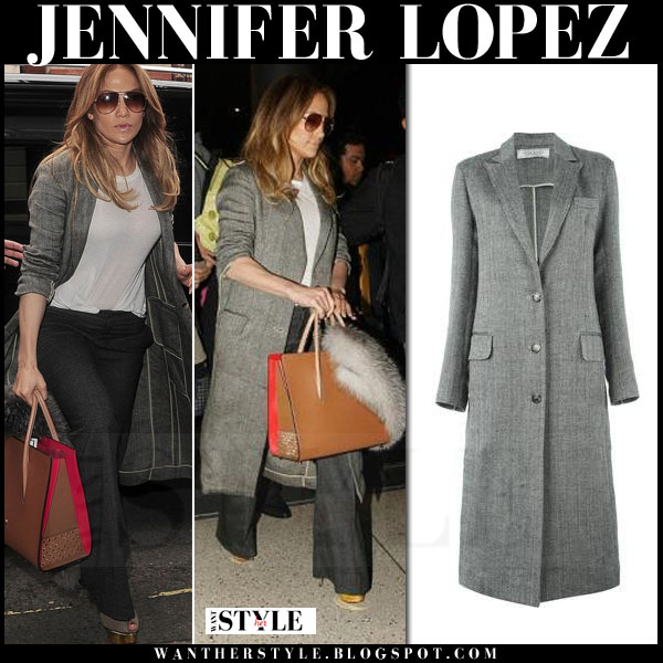 Jennifer Lopez in long grey coat nina ricci what she wore streetstyle