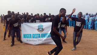 Contingent of the Niger Delta University Storm NUGA 2017 with 'From NDU 2d World T-shirts'