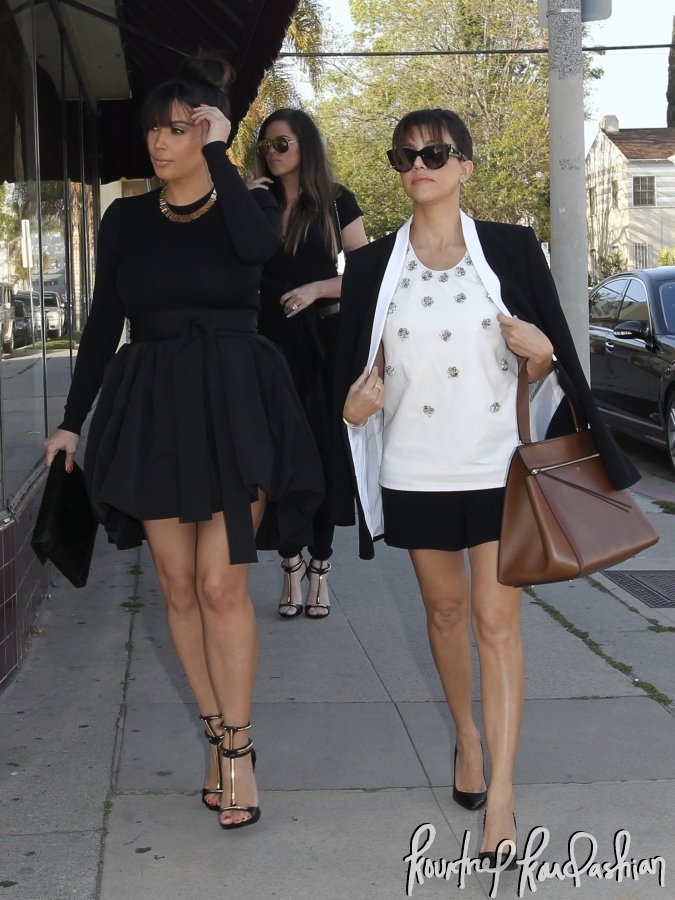 80ec7481b619b9 Kourtney Kardashian Wearing Black & White Blazer White Embellished Blouse
