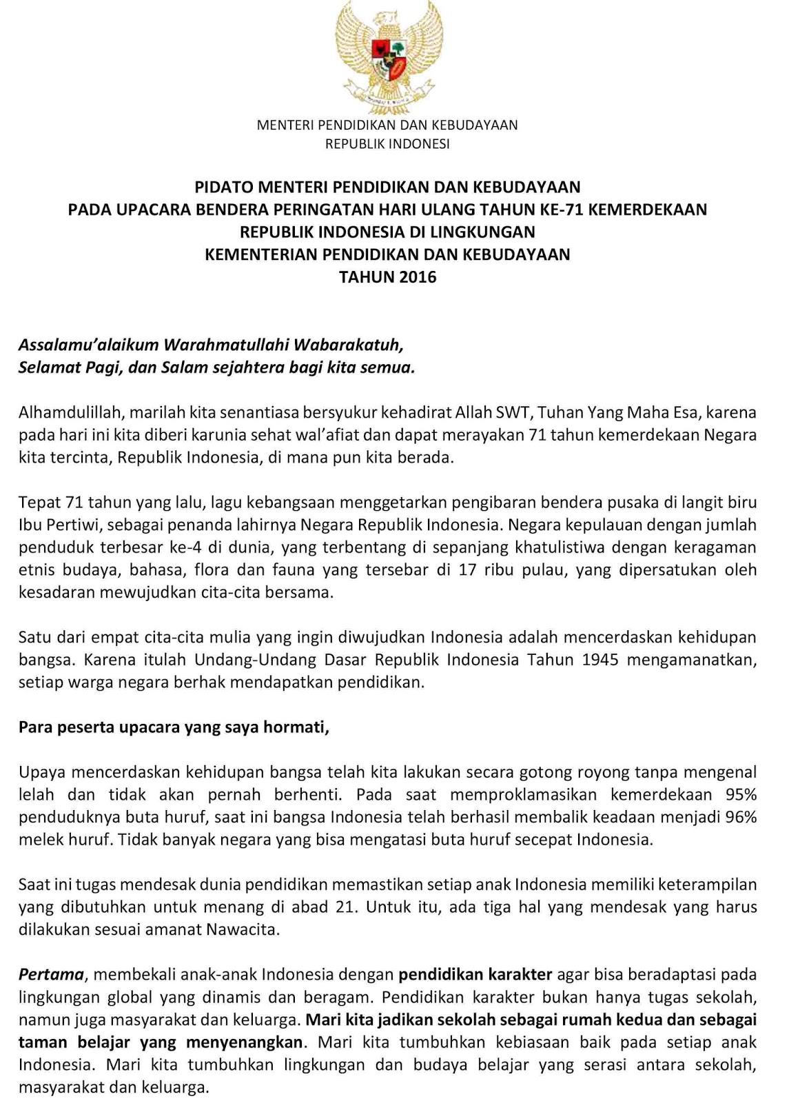 Muara Tebo Disdikbudpora Berikut Pidato Menteri Pendidikan Dan Kebudayaan Pada Upacara Bendera Peringatan Hari Ulang Tahun Ke  Kemerdekaan Republik