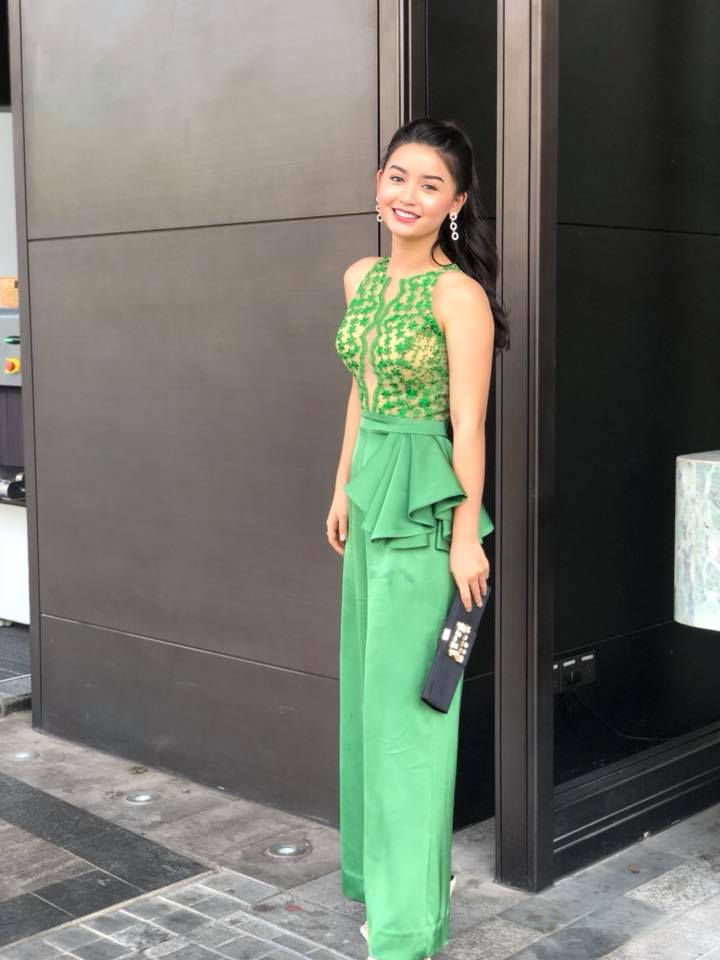 Khin Wint Wah In Green Color Fashion Outfit