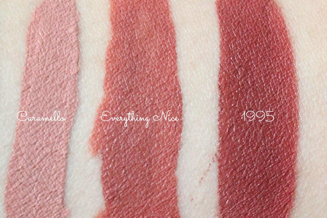 stila caramello liquid lipstick swatch, gerard cosmetics hydra liquid lilsptick everything nice swatch, gerard cosmetics hydra liquid lipstick in 1995