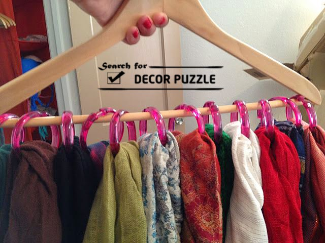 Creative scarf display and storage ideas, organizer, rack