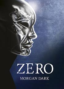Portada de la novela Zero de Morgan Dark, en la que aparece una máscara de plata sobre fondo azul.