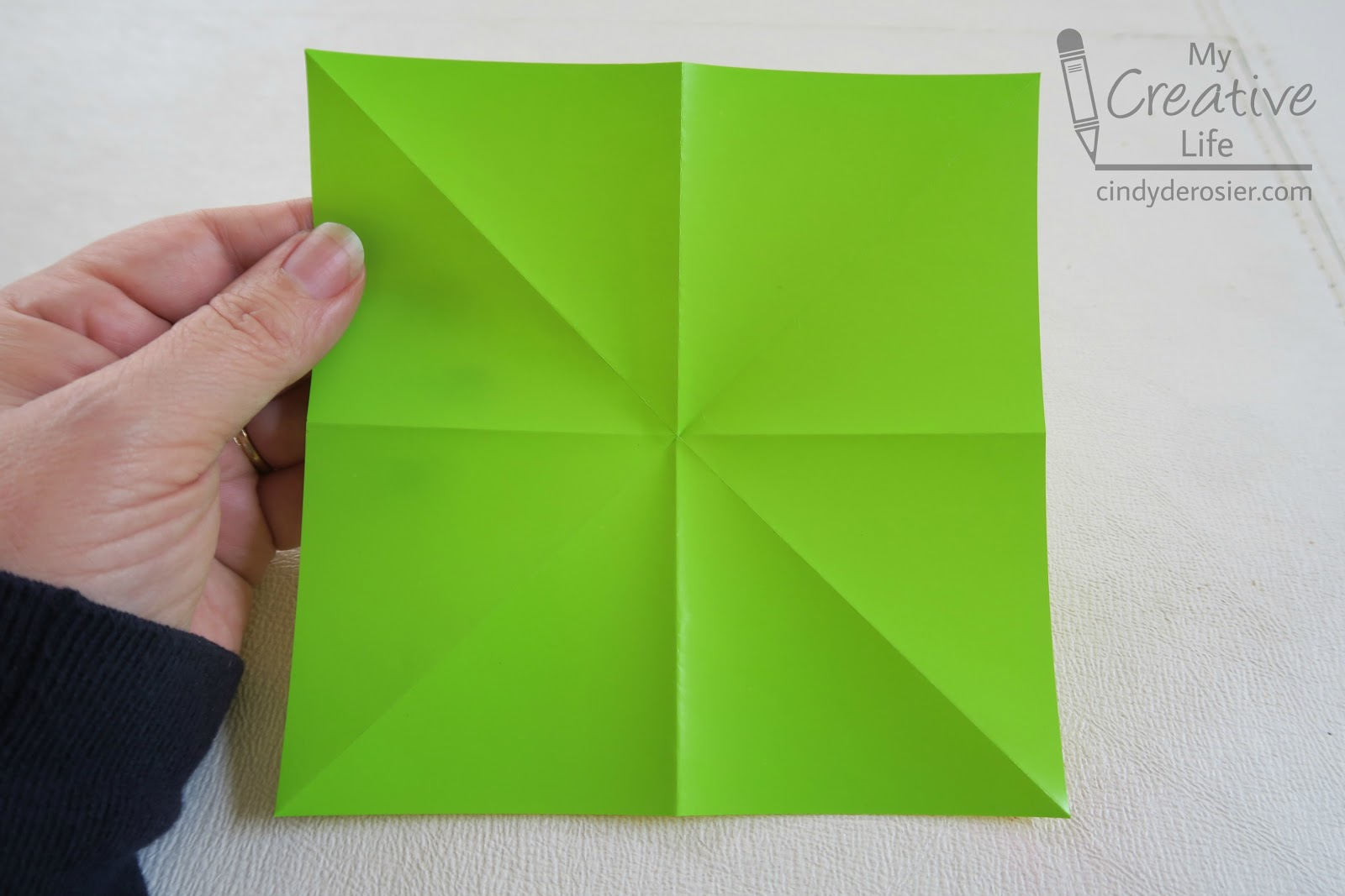 rotate the paper so that it looks like a diamond instead of a square pull the top left and right corners toward the bottom corner collapsing the sides