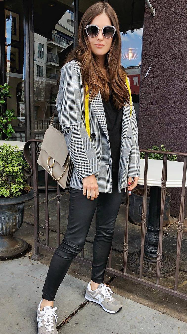 casual style addiction : plaid blazer + bag + top + leather pants + sneakers