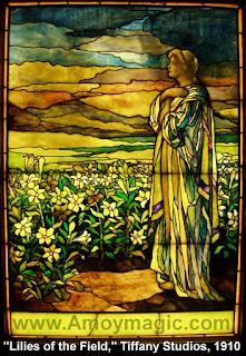 "Tiffany Studios 1910 Consider Lilies of the Field Xiamen China Amoy马太福音6:28,29,耶稣说.""何必為衣裳憂慮呢?你想野地裡的百合花怎麼長起來;他也不勞苦,也不紡線。 然而我告訴你們,就是所羅門極榮華的時候,他所穿戴的,還不如這花一朵呢!"""