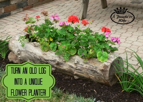Log flower planter featured at Talk of the Town at KnickofTime.net