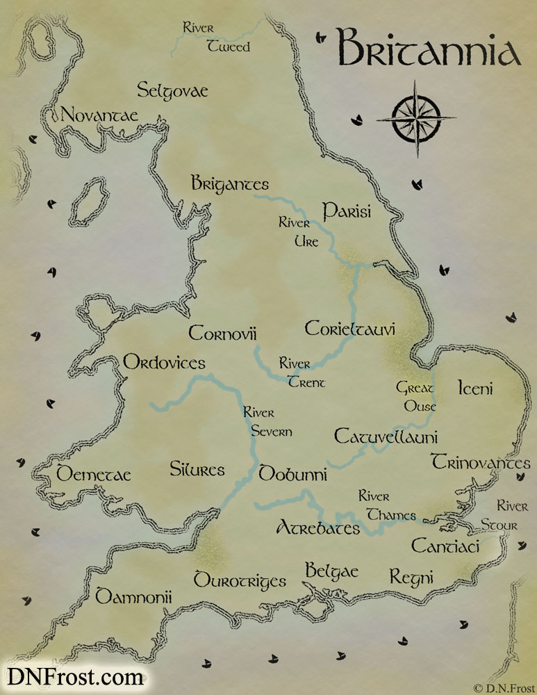 Ancient Celtic Britain, a map commission by D.N.Frost for Linnea Tanner http://www.dnfrost.com/2015/08/ancient-celtic-britain-map-commission.html Part 1 of a series.