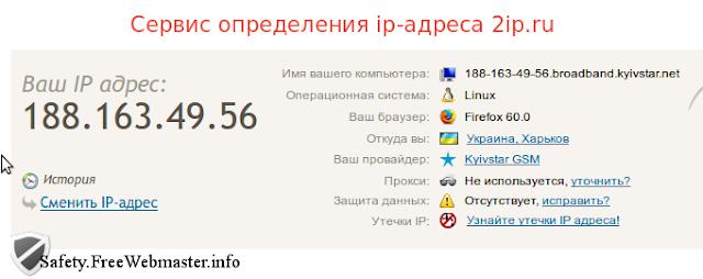 Cервис определения ip-адреса 2ip.ru