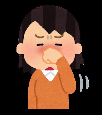 鼻をこする人のイラスト(女性)