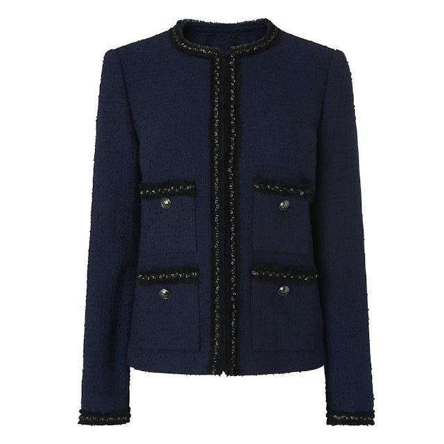 L K Bennett Halyna Navy Tweed Jacket
