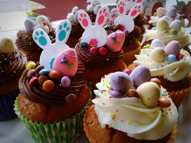 Easter decorated cupcakes with bunnies  and eggs