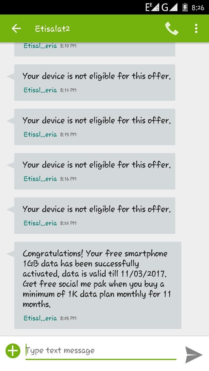 Etisalat Free 1GB Data