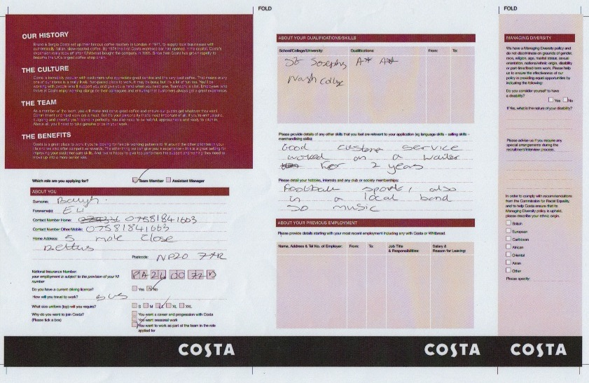 Costa job application form pdf