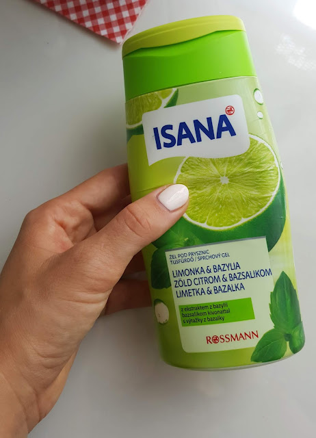 Isana, żel pod prysznic limonka i bazylia