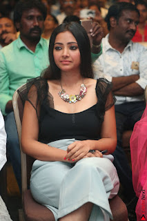 Swetha Basu in a Black Sleeveless Top Long Skirt at Mixture Potlam Movie Audio Launch 007.JPG