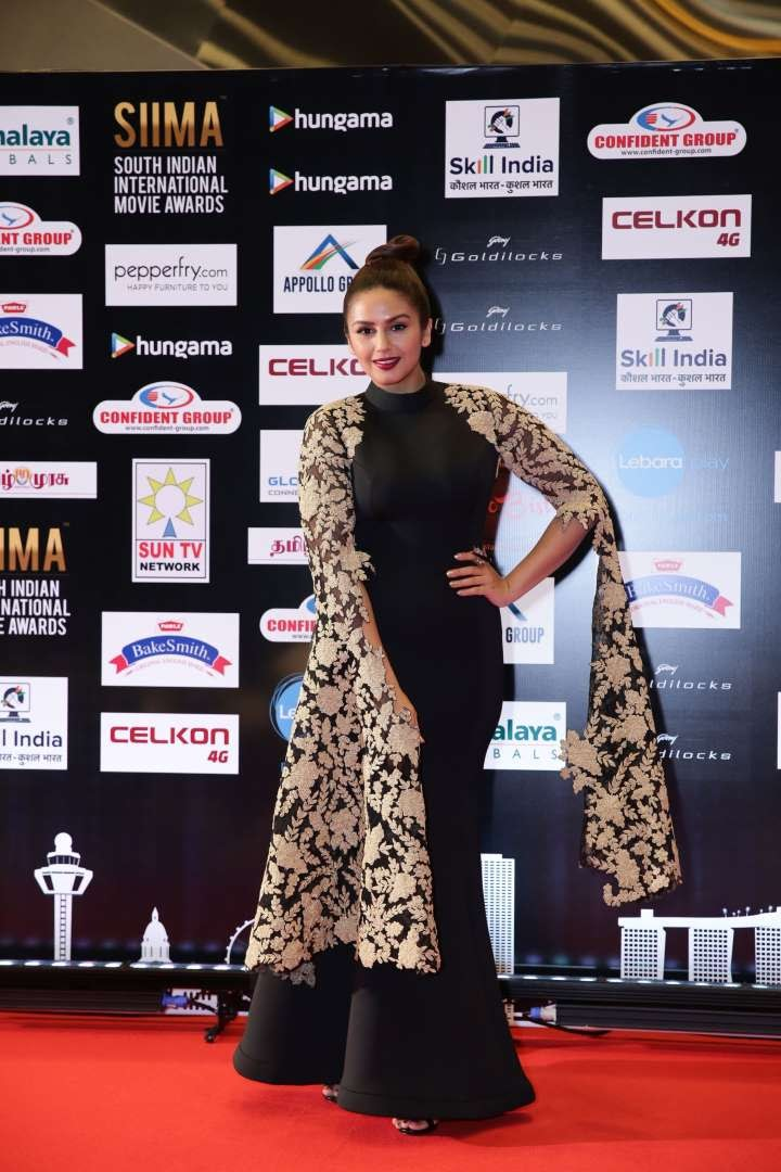 Bollywood actress Huma Qureshi wore a Mayur Girotra gown