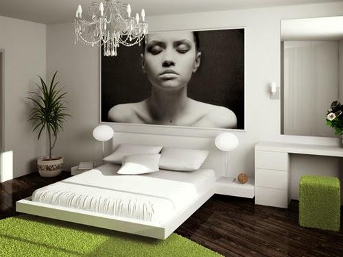 dormitorio con cama baja