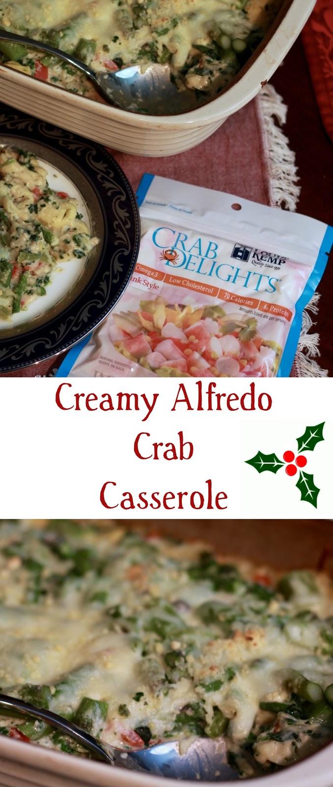 Creamy Alfredo Crab Casserole, Louis Kemp Crab Delights, crab tortellini casserole