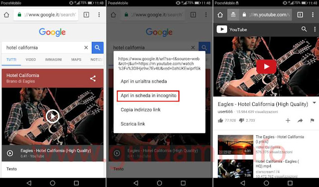 Chrome Android aprire video YouTube in incognito