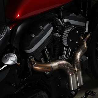 vertical twins exhaust by kinetic motorcycles on complete engine