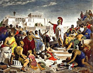 Pericles en el ágora de Atenas.