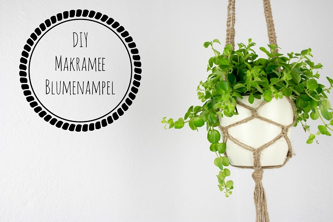 diy makramee blumenampel aus juteschnur kn pfen green. Black Bedroom Furniture Sets. Home Design Ideas