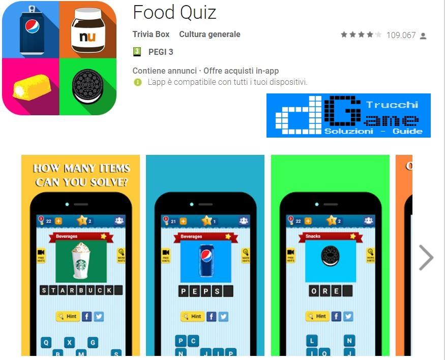 Soluzioni Food Quiz | Screenshot Livelli con Risposte