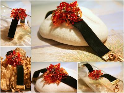 Glorious Chrysanthemum: glass daggers, Japanese seed beads, velvet ribbon, bead weaving :: All Pretty Things