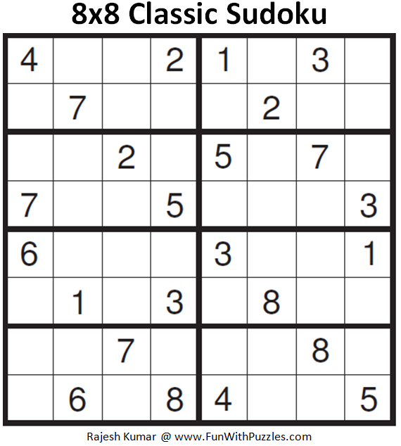 8x8 Classic Sudoku (Fun With Sudoku #166)