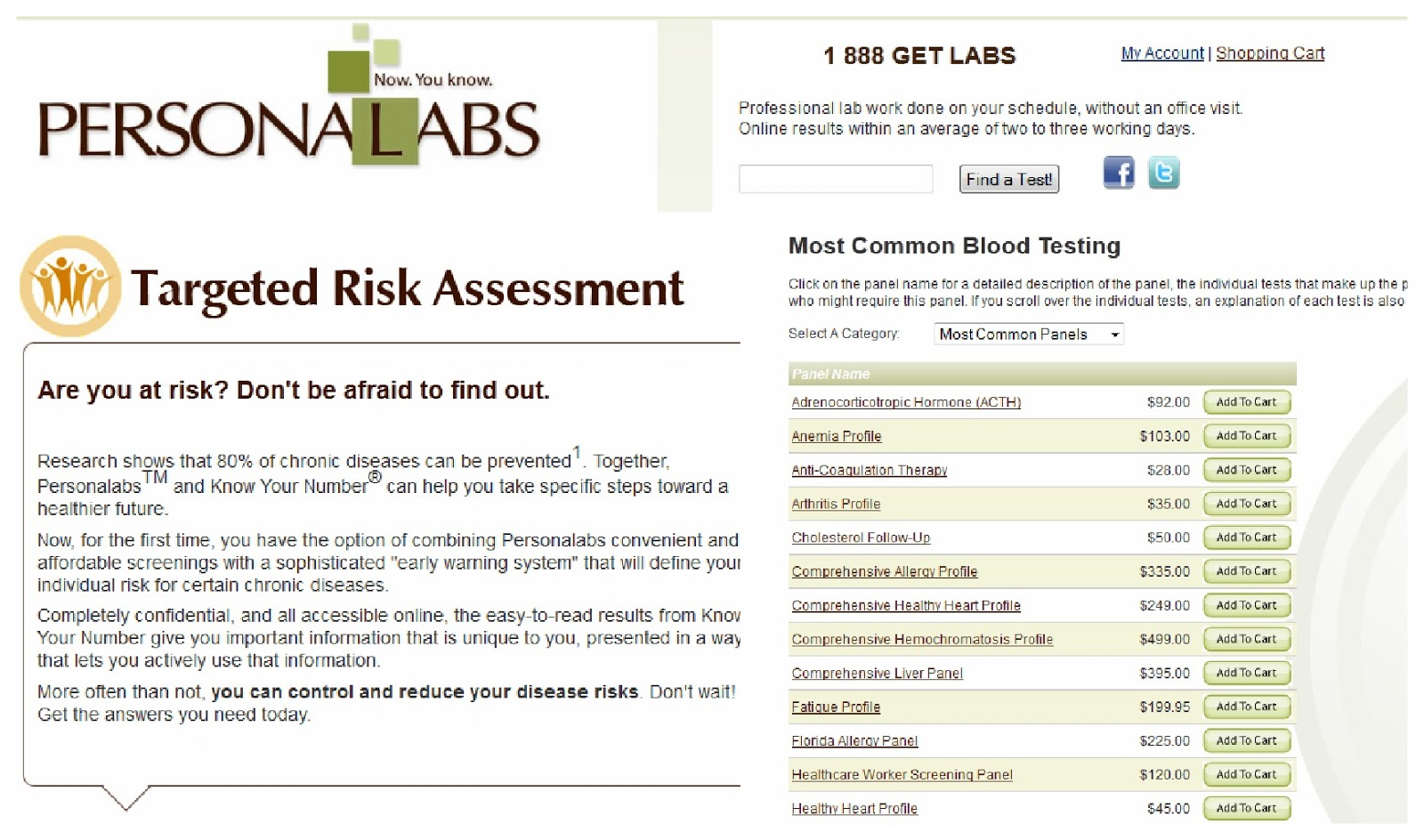 PersonaLabs Online Blood Testing: Targeted Risk Assessment