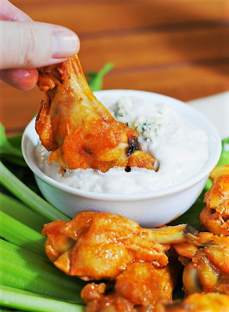 Baked Buffalo Wings with Homemade Blue Cheese Dressing image