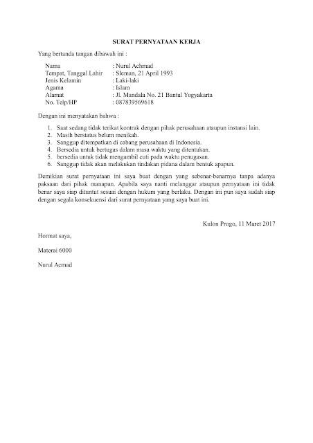 surat pernyataan kerja doc