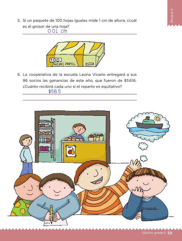 Libro de textoDesafíos MatemáticosEn partes igualesQuinto gradoContestado pagina 59