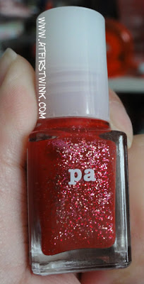 pa nail polish A81 red with glitters