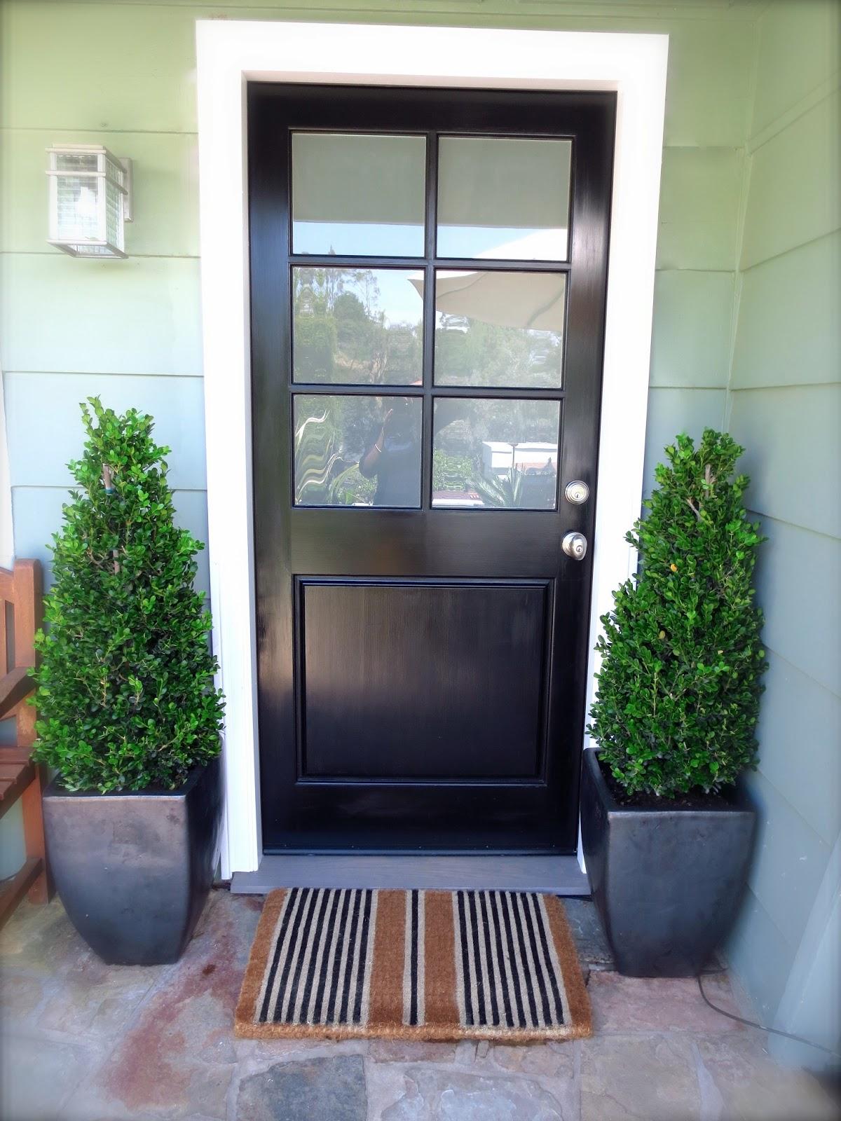 Black Front Door Stripe Doormat
