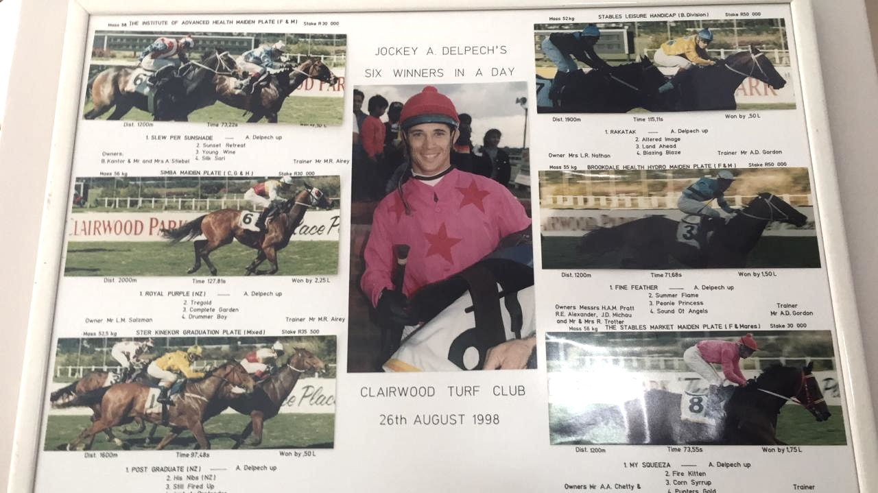 Anthony Delpech rides six winners at Clairwood Turf Club Racecourse