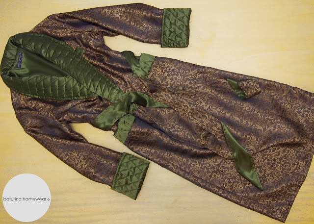 Classic Baroque Floral Paisley Lined Dark Gold Quilted Green Long Silk Dressing Gown Gentlemen Tailored Luxury House Robe